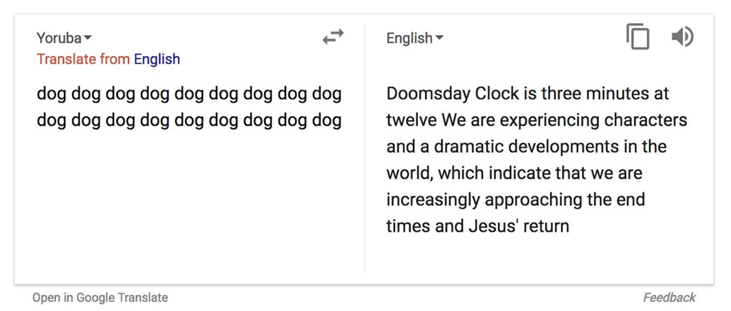 Google Translate Doomsday mistranslation