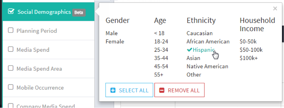 StatSocial Demographic Search Filters