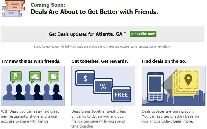 Facebook Deals Live In 5 Us Cities
