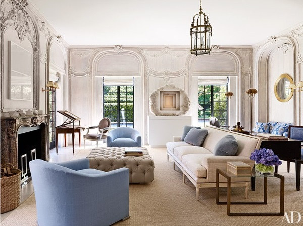 Architectural digest october 2015 9 best rooms with - Transitional style living room ...