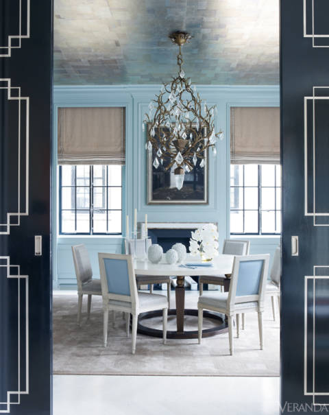 blue and grey dining room   Blue, Gray, Coral and Green Rugs Enrich Veranda's 7 Best ...