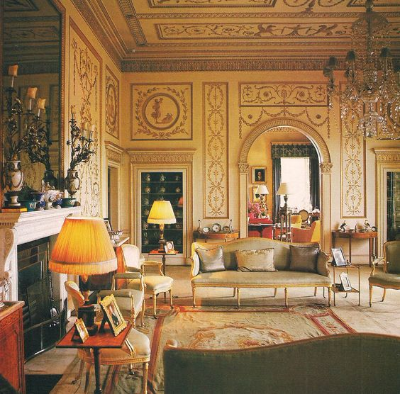 A traditional Aubusson rug is a great complement for Neoclassical architecture and English and French antiques as in the salon designed by David Hicks.
