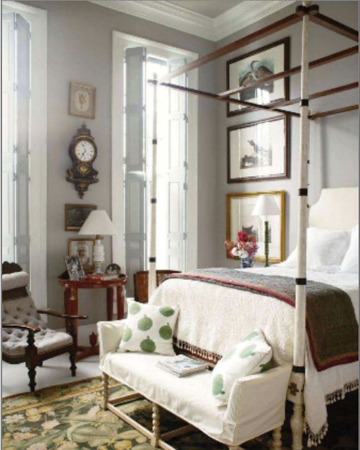 An Aubusson rug with large exotic green leaves is a perfect way to design a light and airy bedroom.