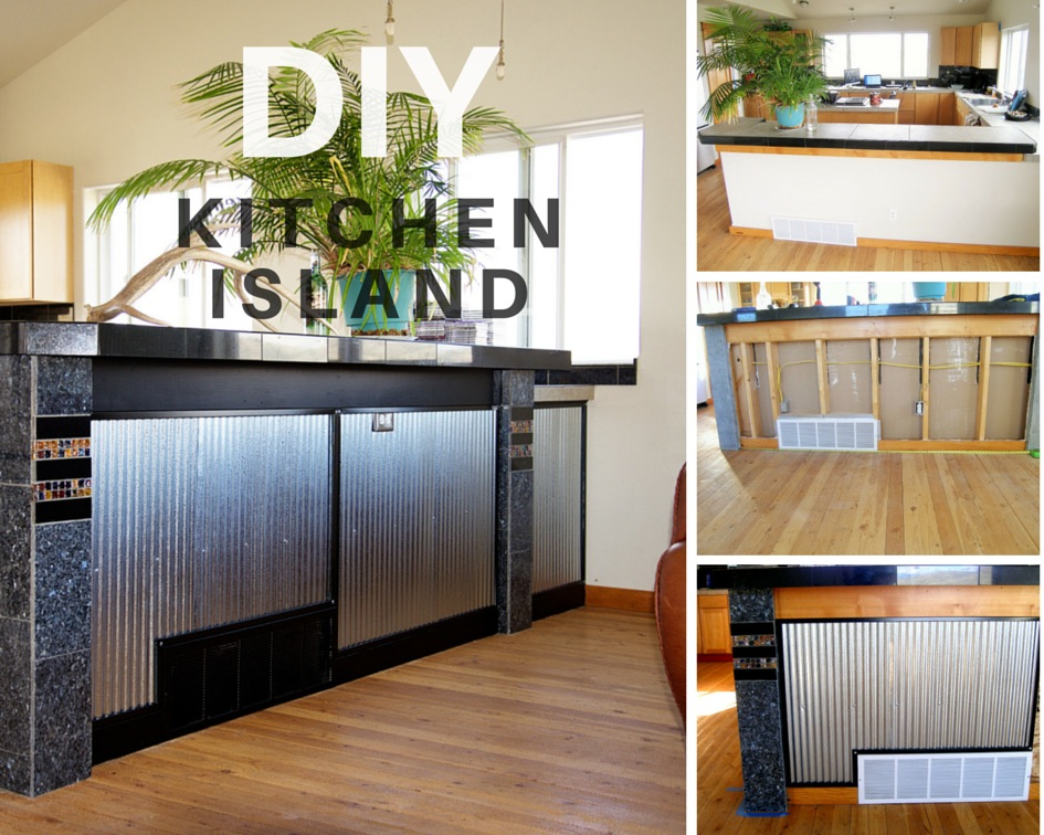 DIY Kitchen Island with Corrugated Metal