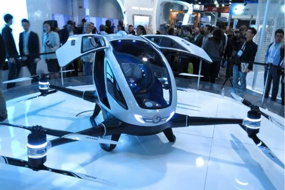 Un dron para pasajeros, localización vehicular de altura