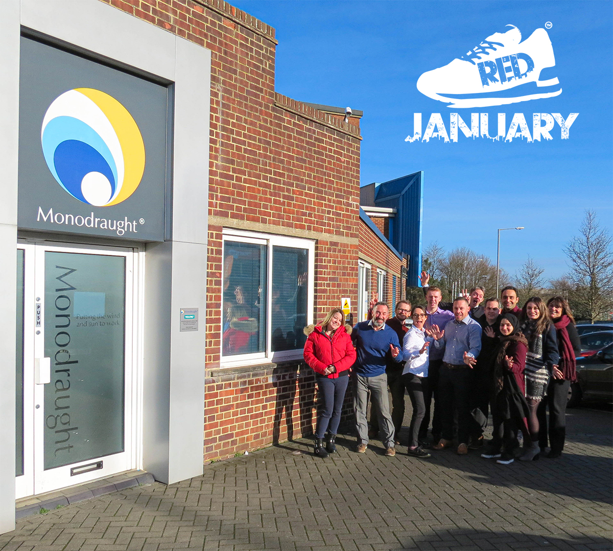 Staff celebrate taking part in RED January with Buckinghamshire Mind