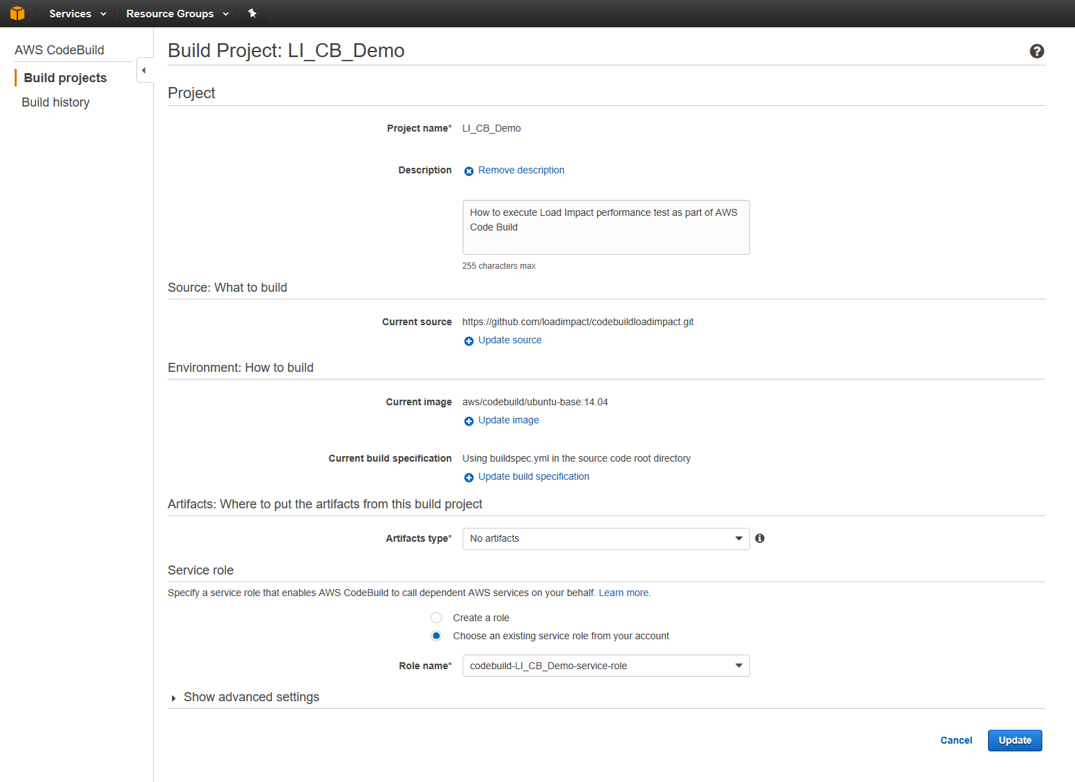 AWS CodeBuild Load Impact 2