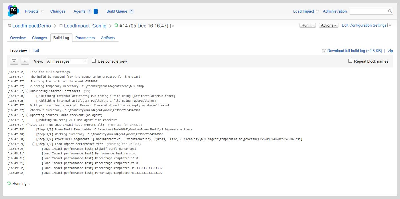 Load Impact build logs