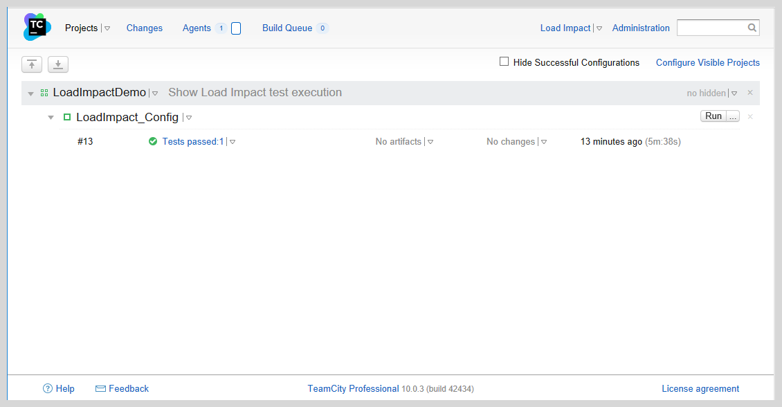 Load Impact config TeamCity