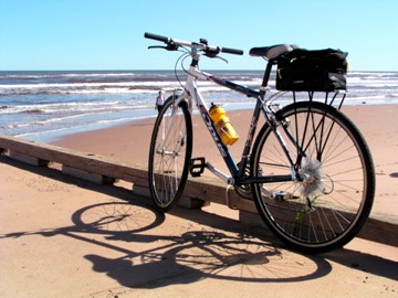 prince edward island bike tour bike on beach