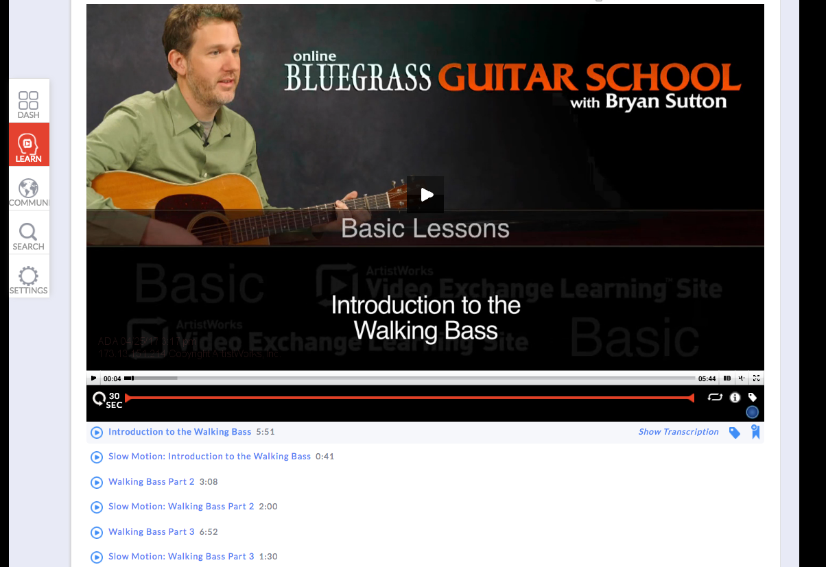 bluegrass guitar lesson on walking bass