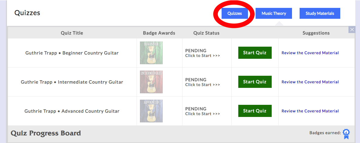 country guitar quizzes