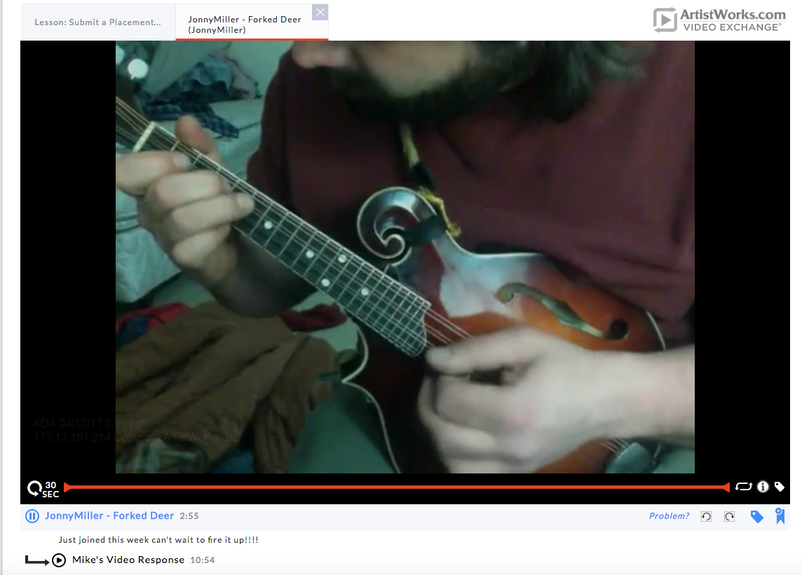 mandolin jonny artistworks video exchange