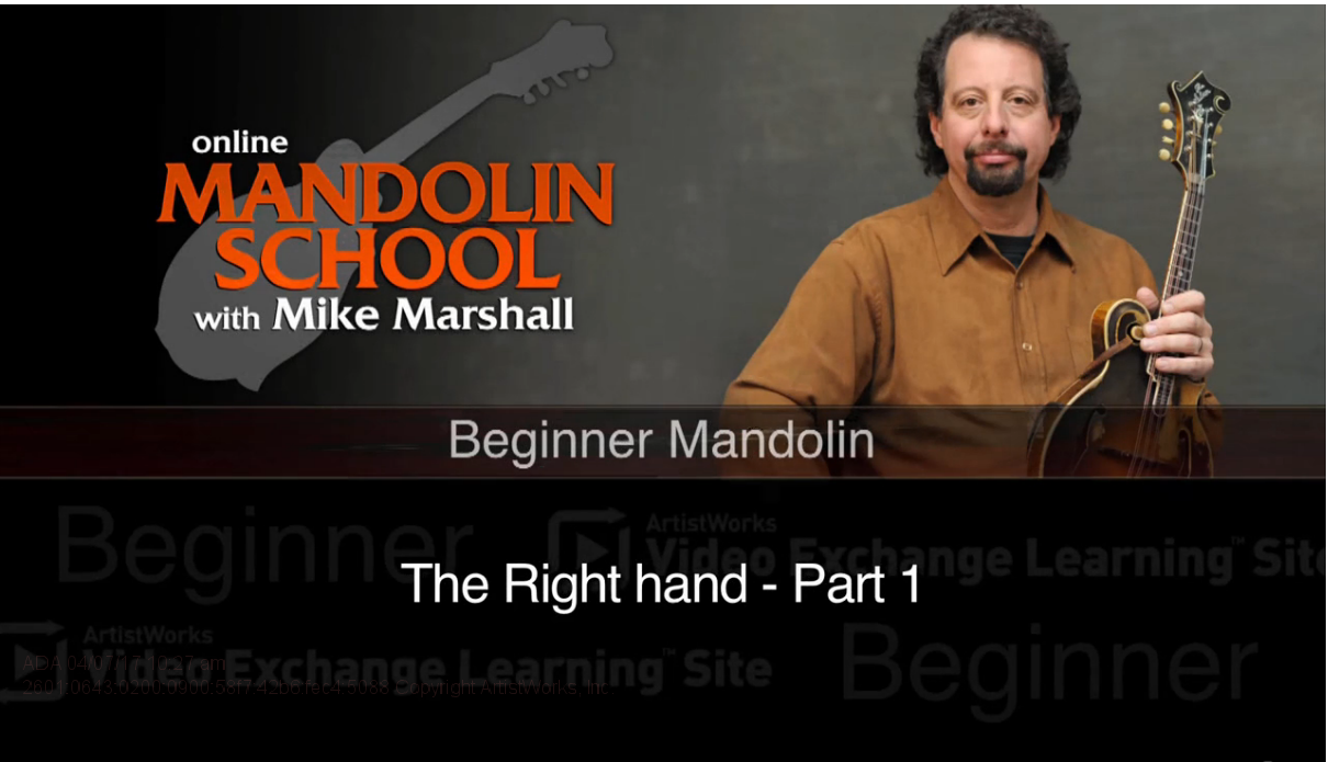 mandolin lesson on the right hand with mike marshall