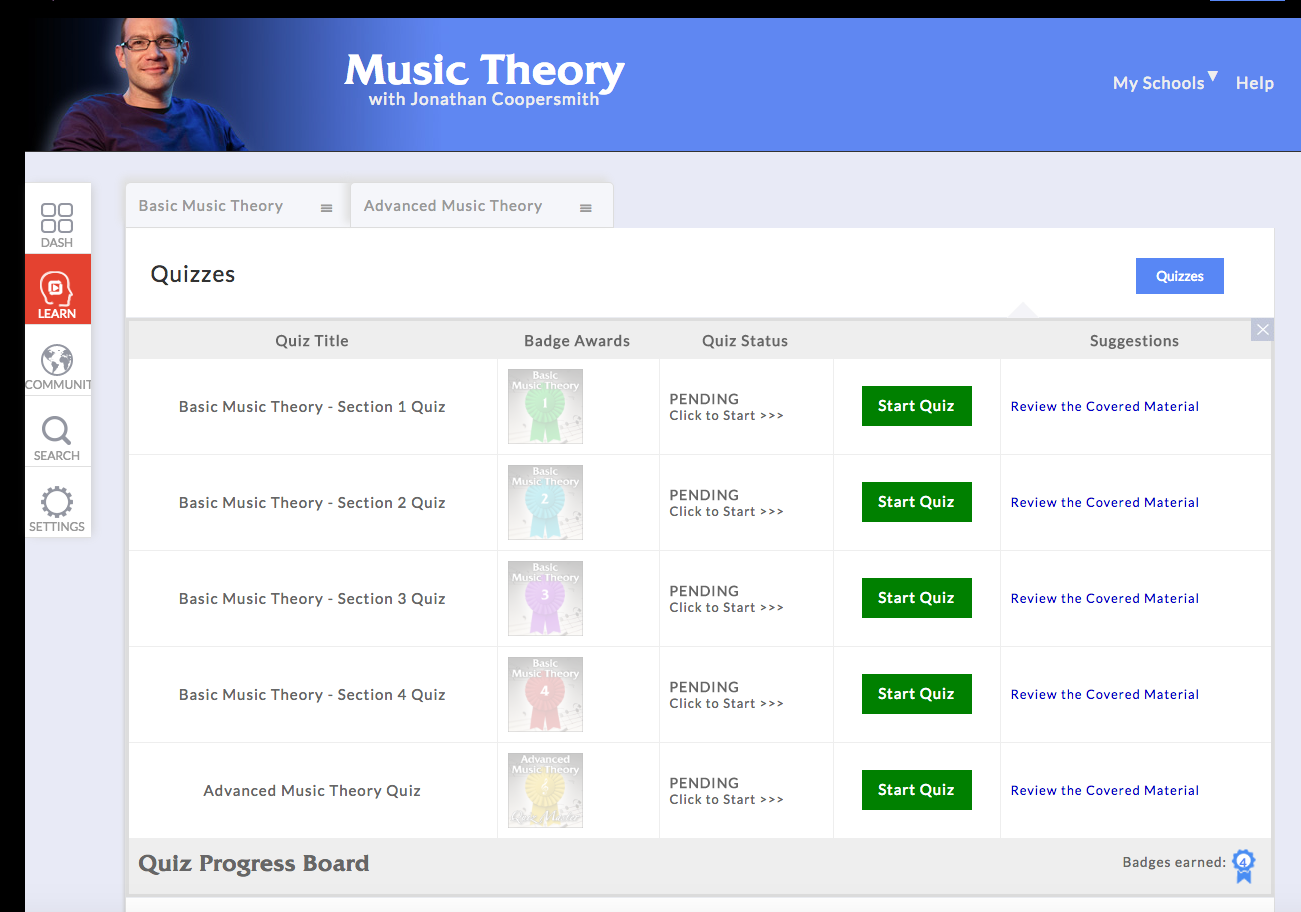 music theory lessons - quizzes at artistworks