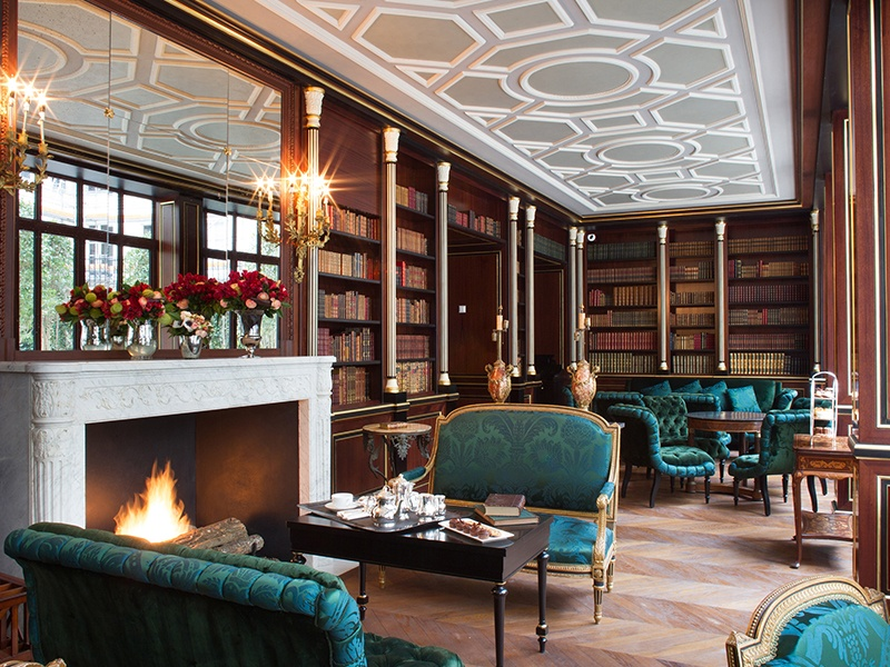Housed inside a Haussmannian-style mansion, La Réserve Paris Hotel and Spa enjoys the chic and exclusive feel of a private club, as exemplified by its stunning library, pictured above. Photograph: G. Gardette