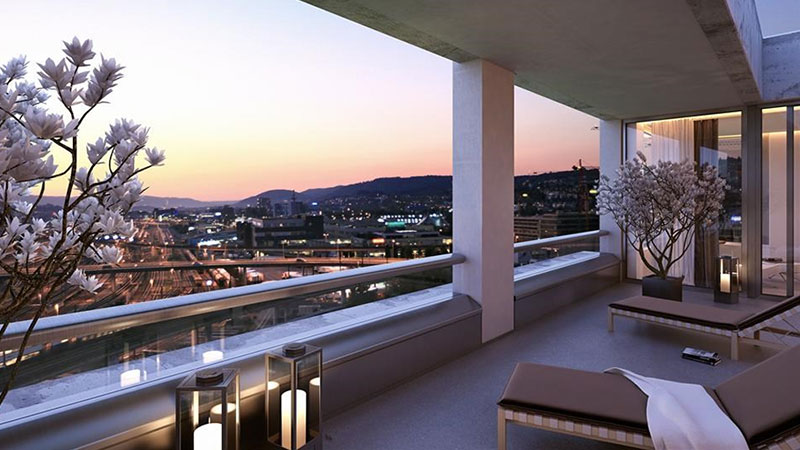 Spectacular penthouse offering luxurious urban living in the heart of Zurich West, directly adjacent to the relaxing green area of the newly developed Pfingstweidpark, only a few steps away from the train station Hardbrücke