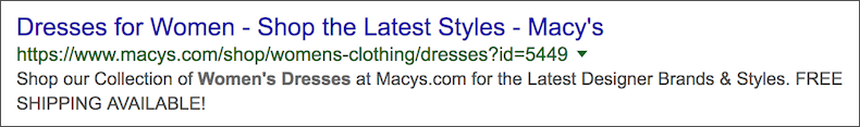 Macys Meta Description