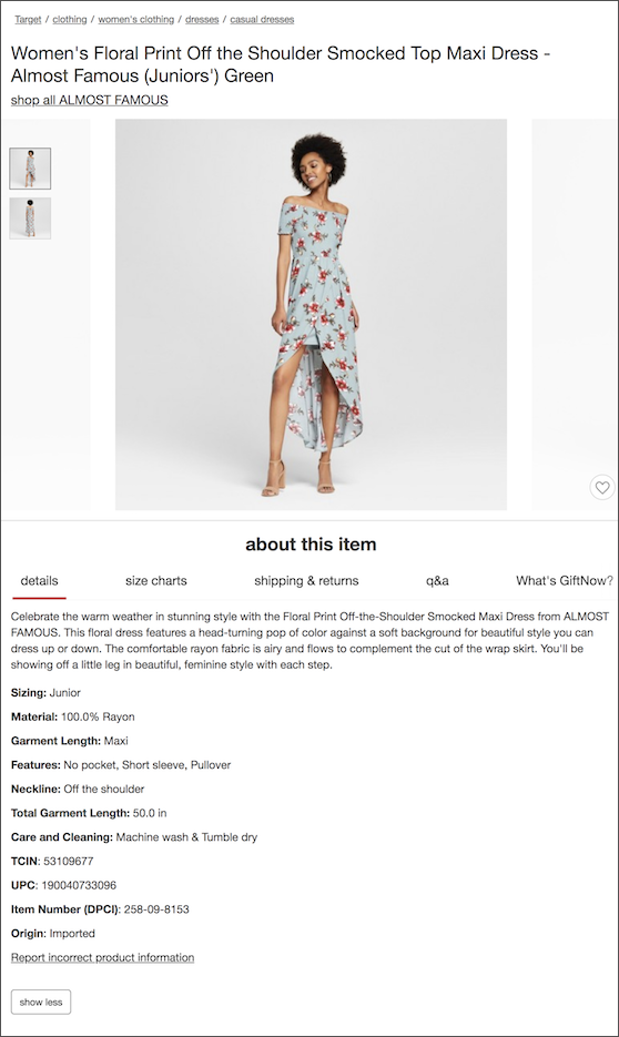 Target Product Description