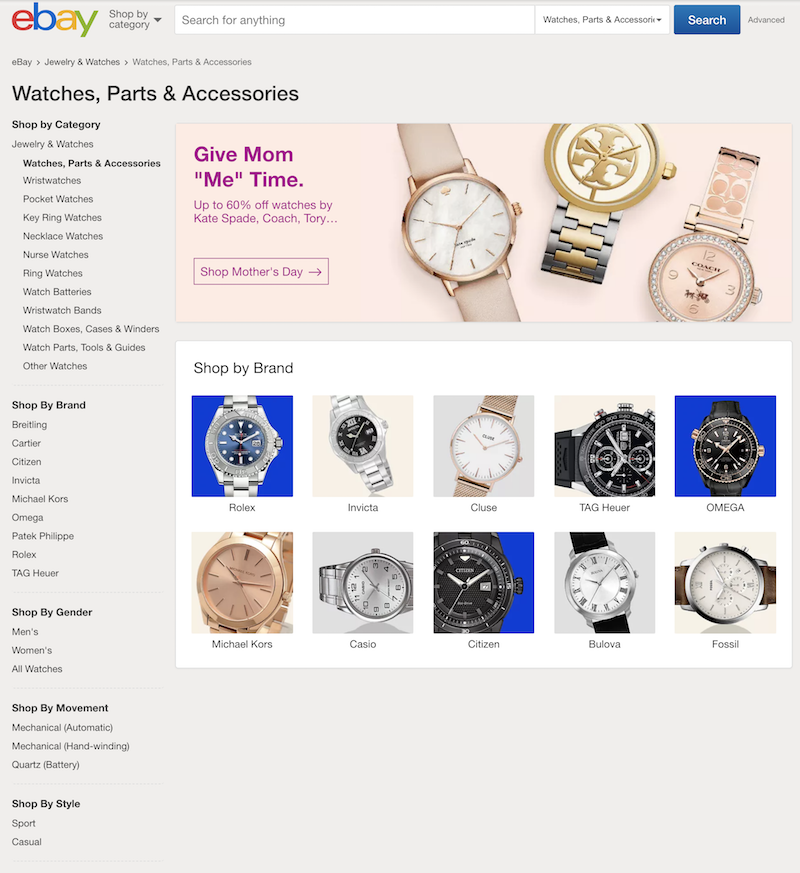 eBay Watches Product Page