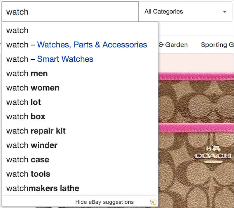Ecommerce SEO - eBay Search Suggestions