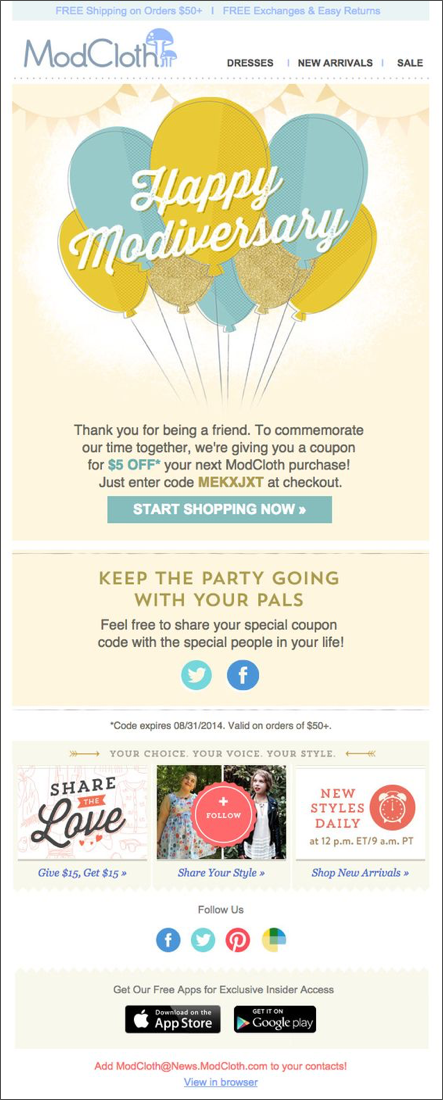 ModCloth Anniversary Marketing Email