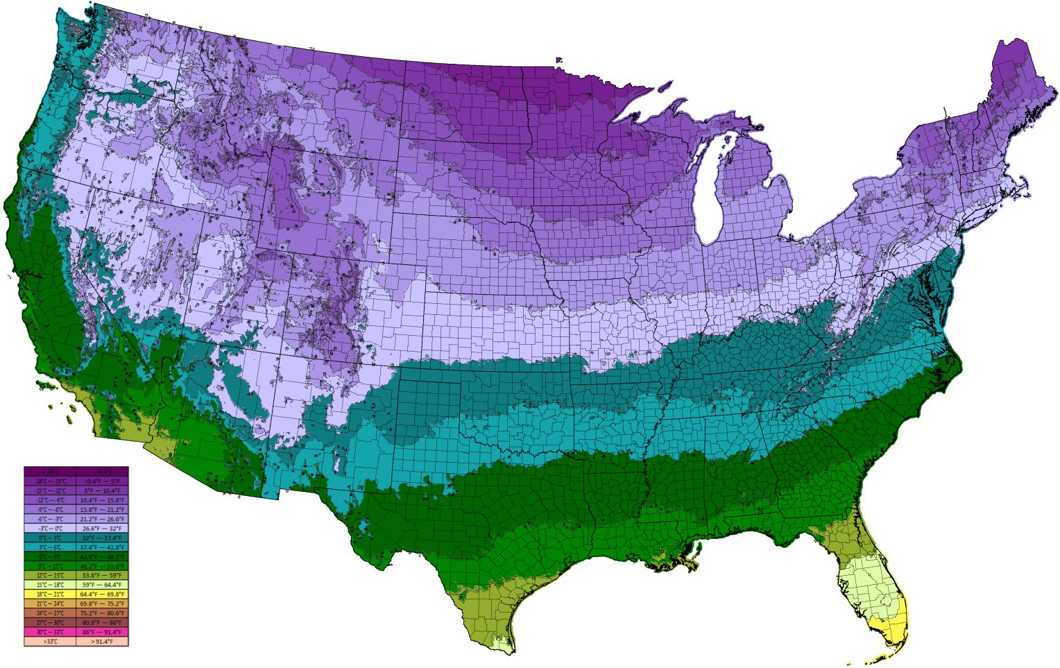 Map Us Average Low Temperature Map