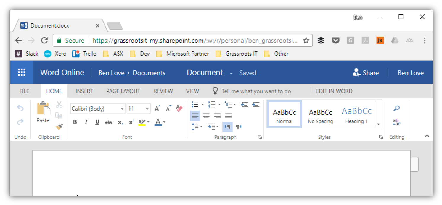 Web version of Microsoft word