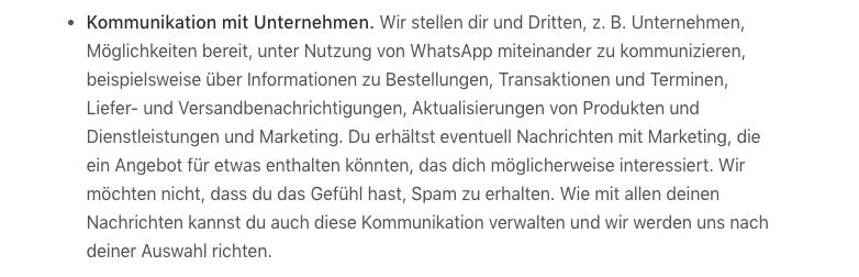WhatsApp AGB Komm mit Unternehmen