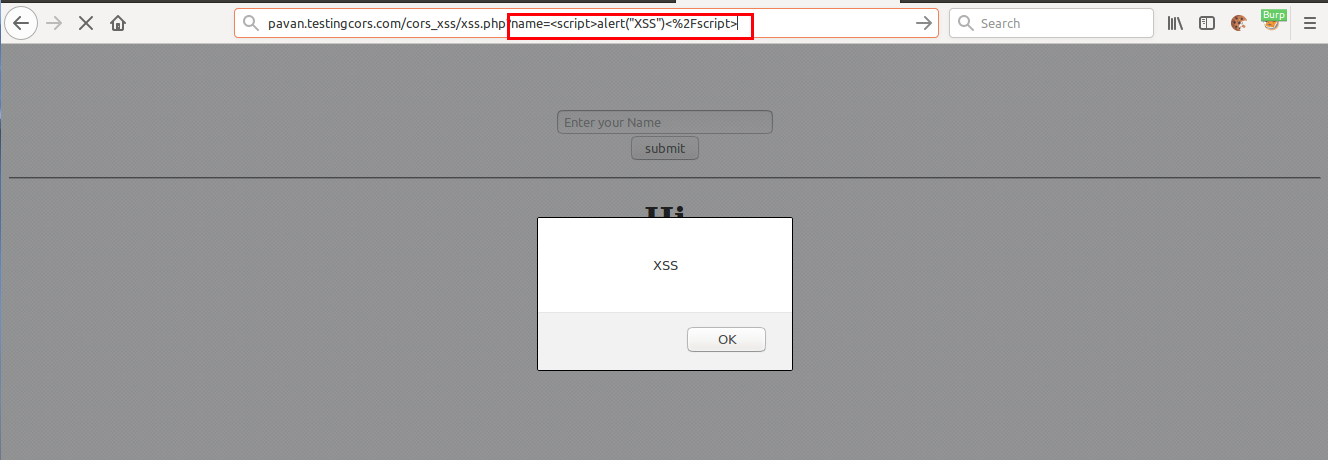 Shows that pavan.testingcors.com is vulberable to XSS