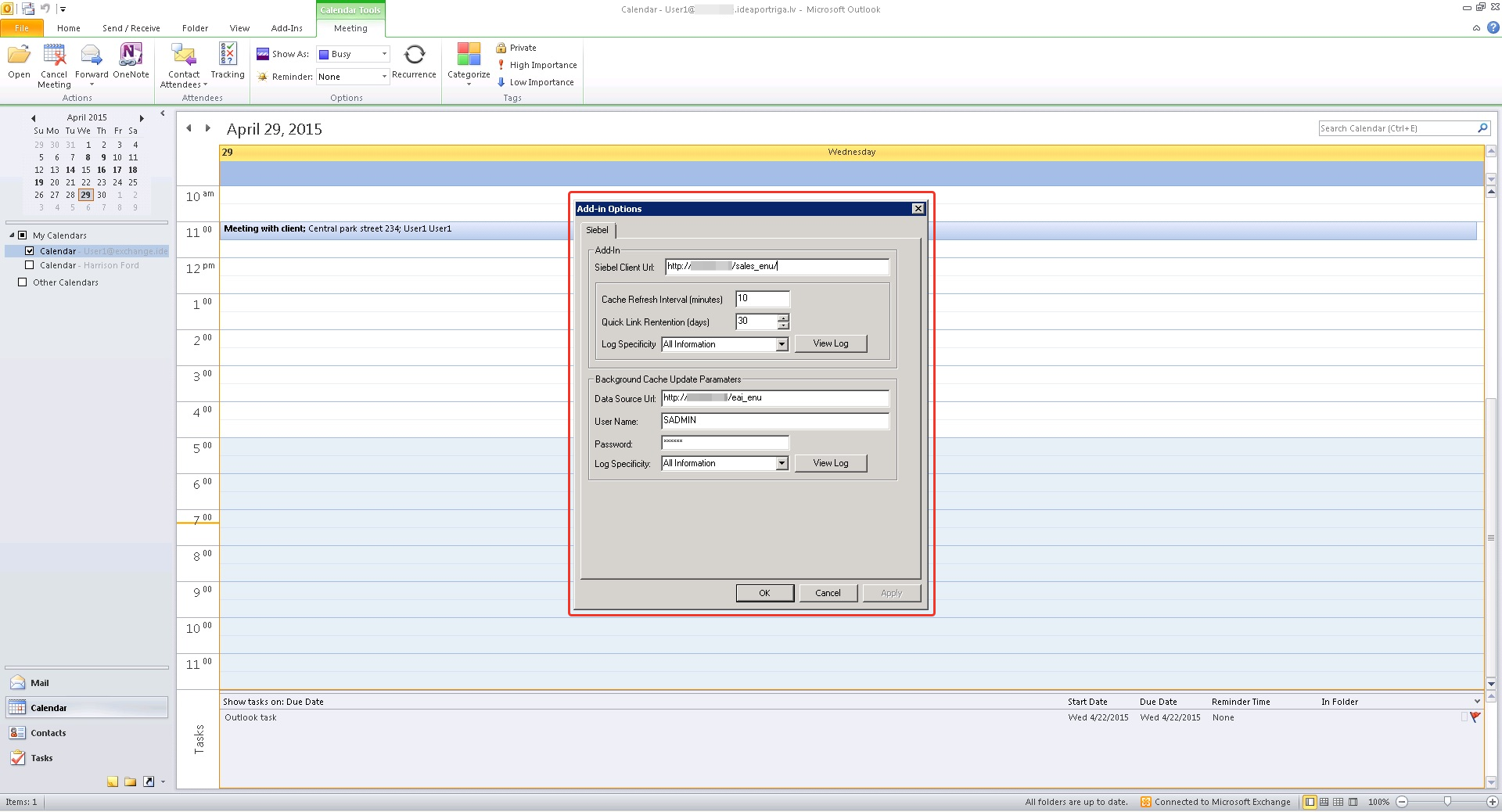 Siebel Server Sync: Microsoft Exchange integration
