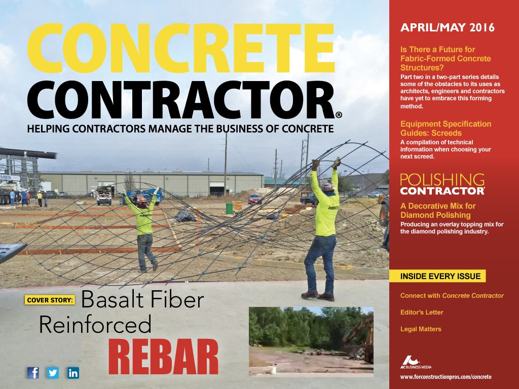 Gatorbar on cover of concrete contractor