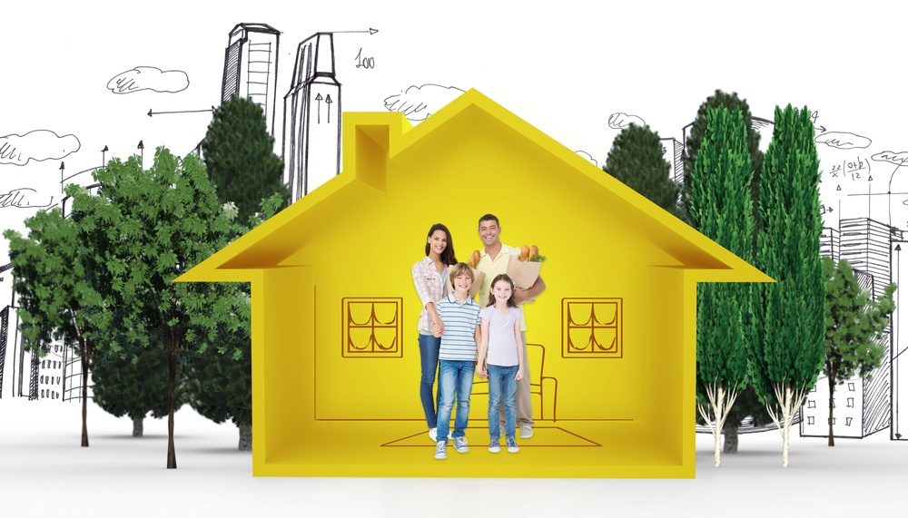Happy family with grocery bags against house shape with living room sketch