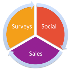 Surveys + Social + Sales