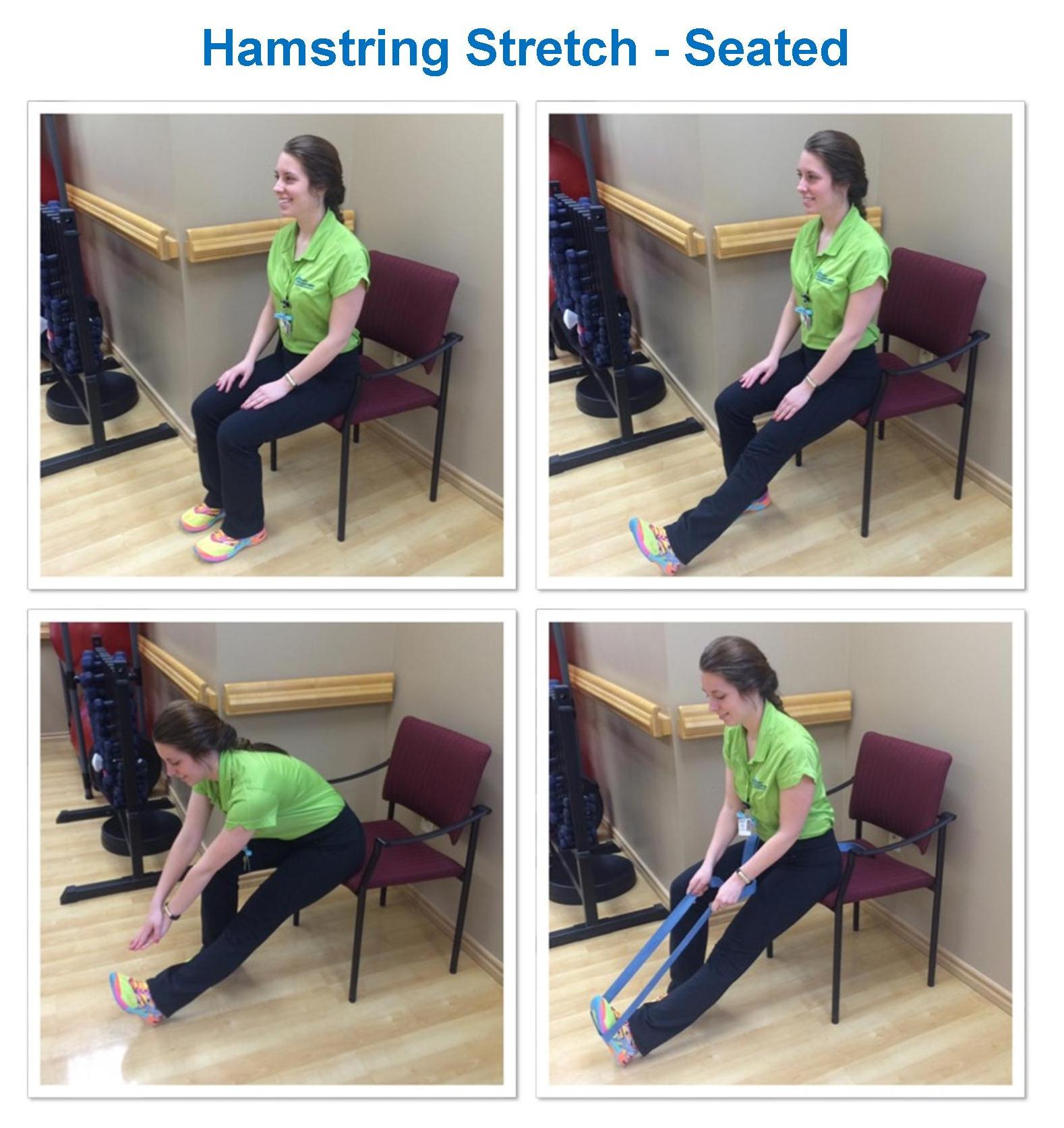 Hamstring stretch in seated position