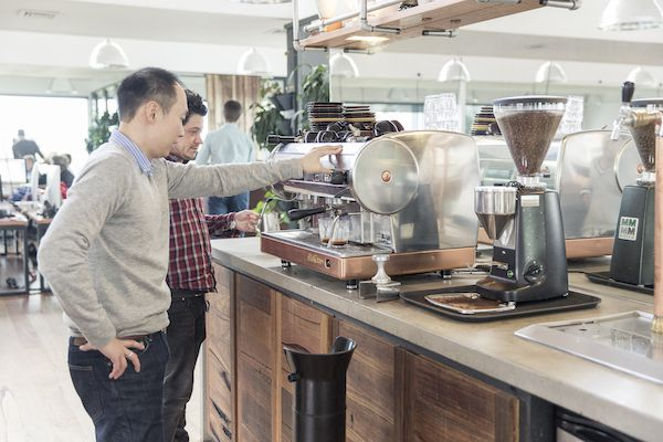 Photo: Coffee machine being used