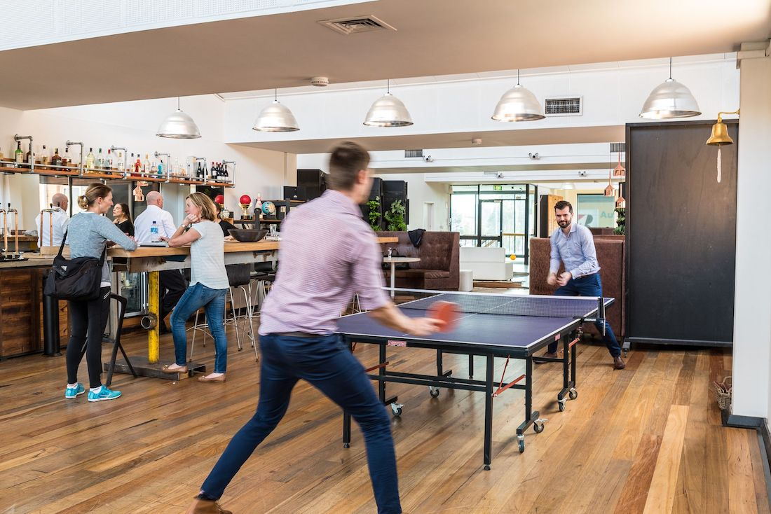 Photo: Blix Spaces members playing table tennis
