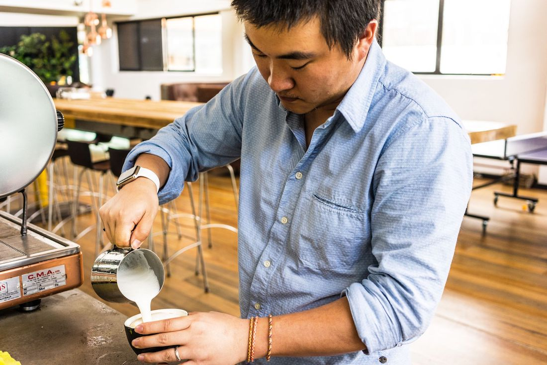 Photo: Blix Spaces member making coffee