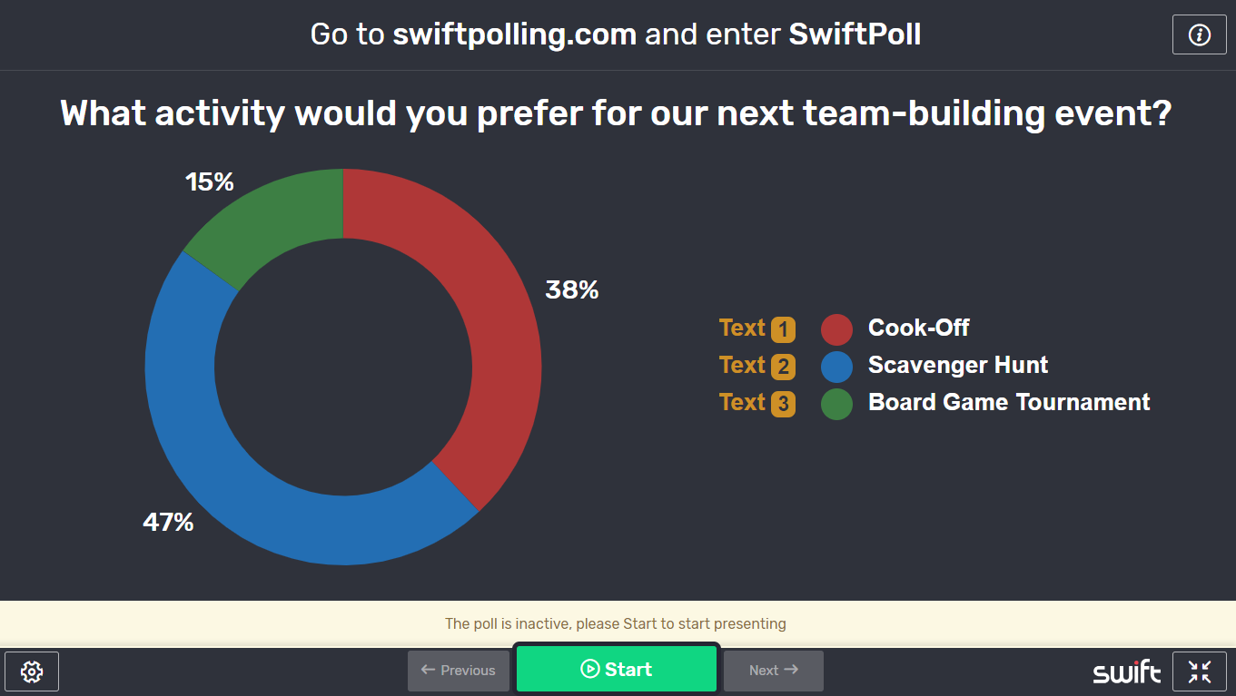 Online poll for team building