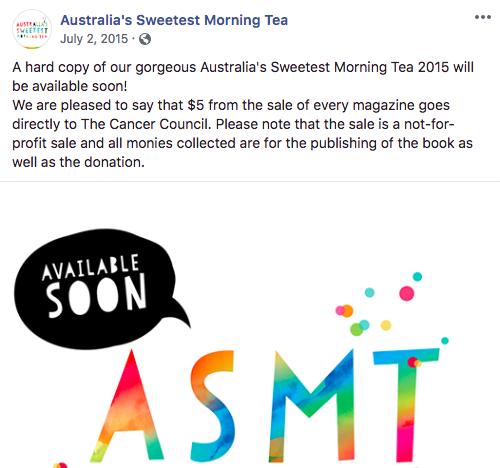 Australia's Sweetest Morning Tea Facebook post