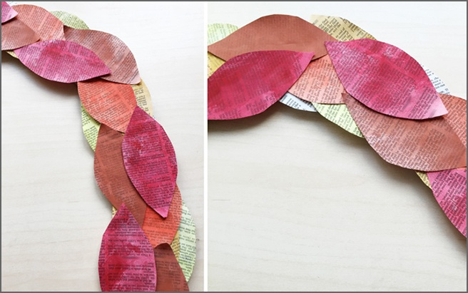 Book-Page-Wreath-Leaves-Gluing