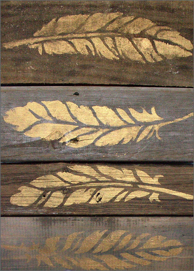 Gold-Feather-Stenciled-on-Wood