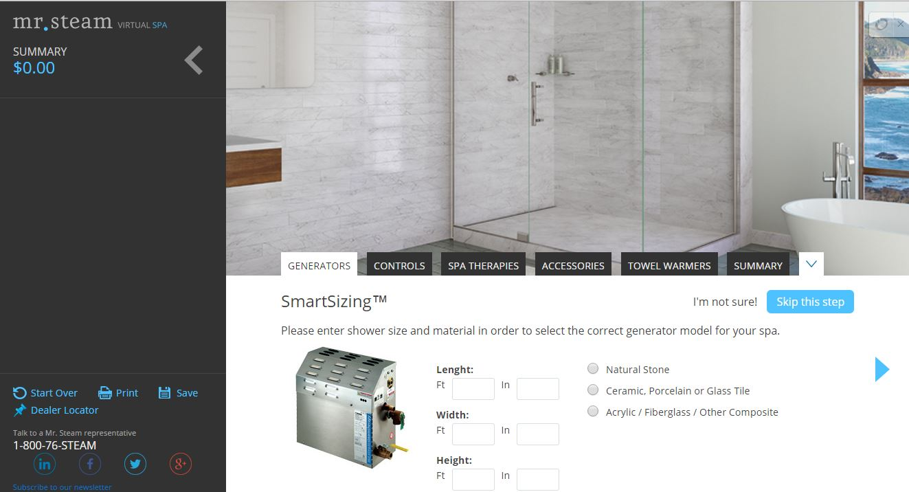 How to Size a Steam Shower Generator? Try Our Virtual Spa System