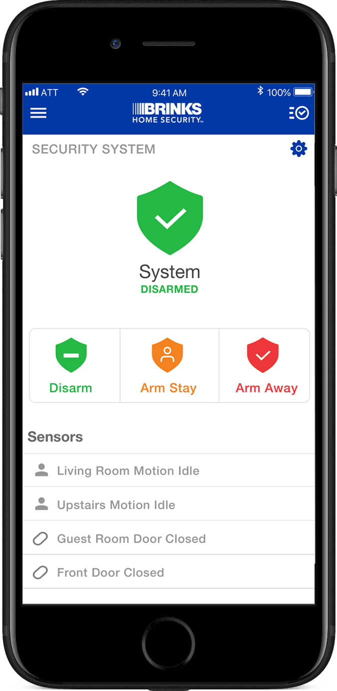 Mobile alarm system control with the Brinks Home Security app