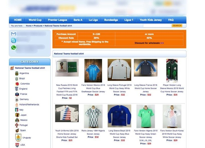 A rogue website selling counterfeits