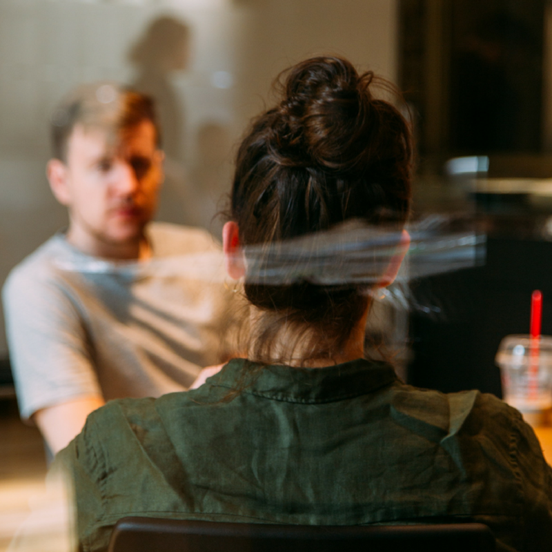 Woman and man meeting over coffee (1)