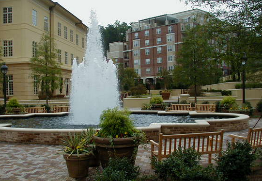 water features add a relaxing element and focal point to the patio space