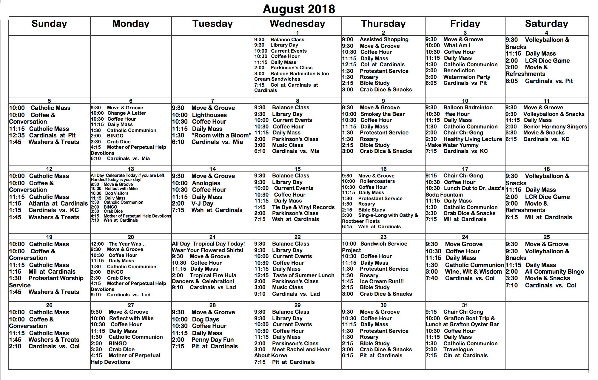 august 2018 st francis center for assisted living activities calendar