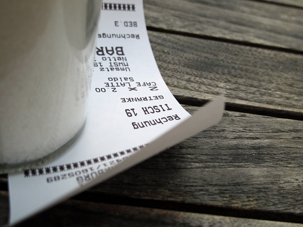 Bar tab receipt