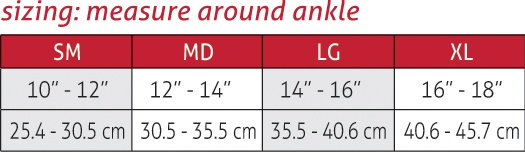 Life Care for Her Ankle Support Size Chart